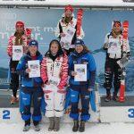 Die Klasse U18 gewann Nora Brand vor Sophia Eckstein (li.) und Leonie Flötgen. Die Ränge vier bis sechs gingen an v.li. Franziska Schelle, Franziska Berger und Anna Demler.